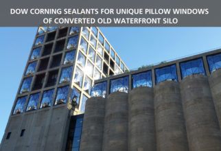 Dow Corning Sealants for unique pillow windows of converted old waterfront silo